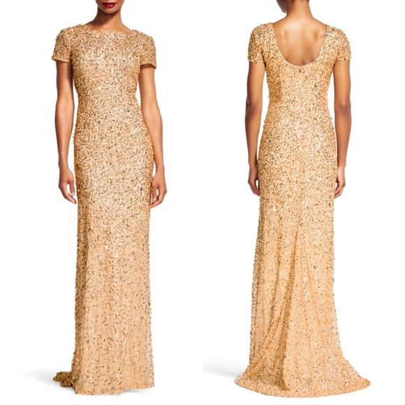 1009348732adc Adrianna Papell Dresses & Skirts - Adrianna Papell Scoop Back Gold Sequin  Gown